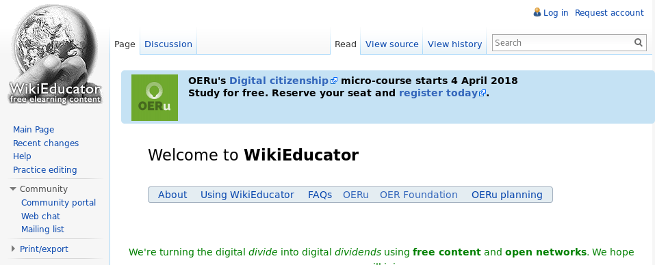 WikiEducator-site-message